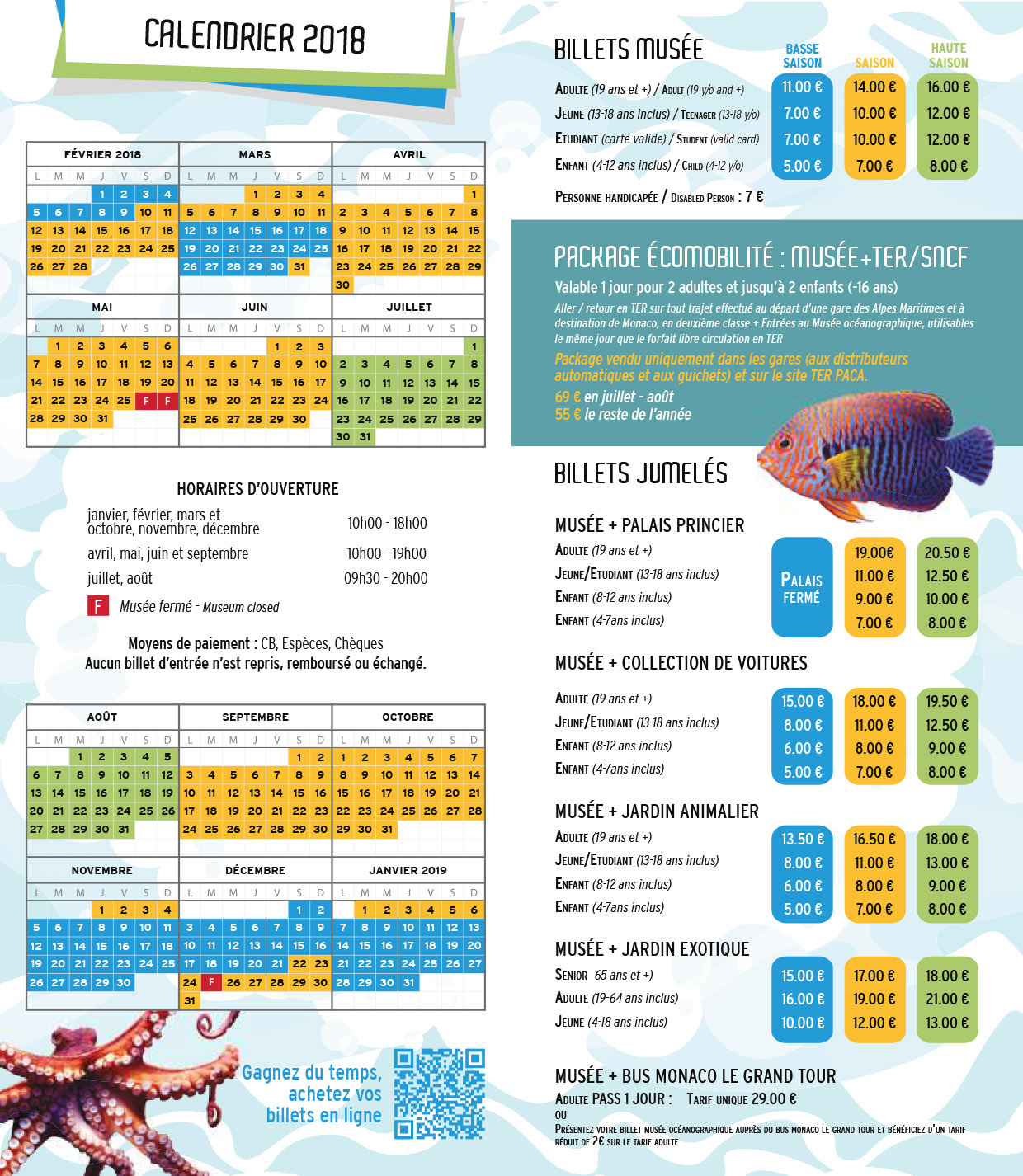 Prices 2018 for the Oceanographic Museum of Monaco